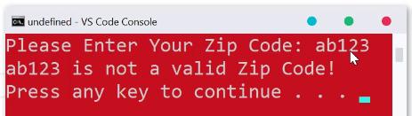 کد پستی نامعتبر در پایتون